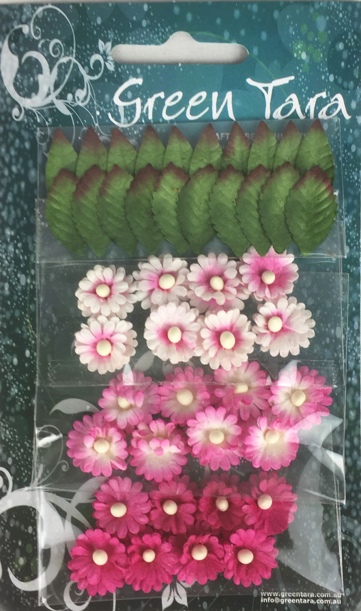 Pack of 24 Mimosas (1.5cm) & 20 Leaves (2cm), HOT PINK