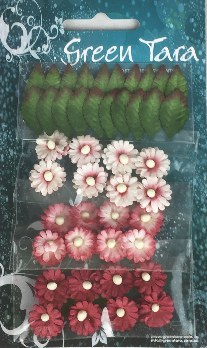 Pack of 24 Mimosas (1.5cm) & 20 Leaves (2cm), ANTIQUE RED