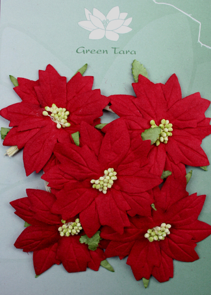5 Large Red Poinsettias, Green Centre