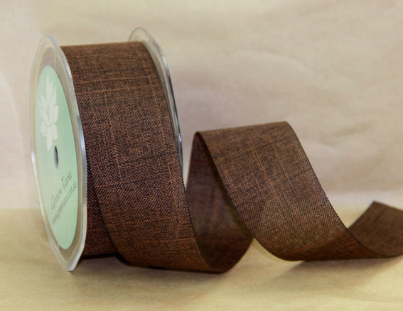 38mm Linen Look Ribbon, 20 Metres Chestnut