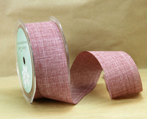 38mm Linen Look Ribbon, 20 Metres Mauve