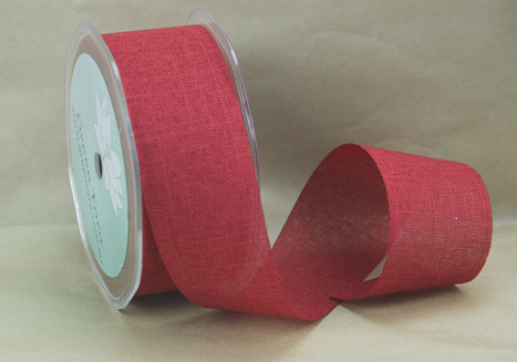 38mm Linen Look Ribbon, 20 Metres Ruby