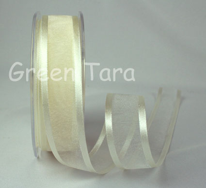 23mm Satin Edged Organza Ivory 25m