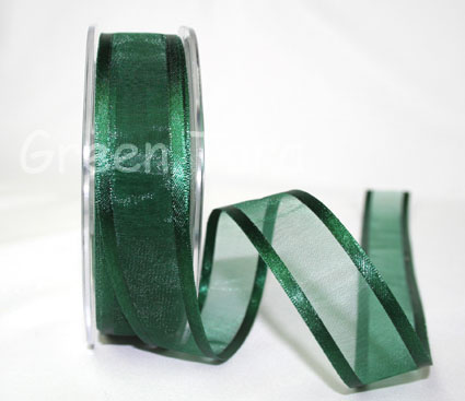 23mm Satin Edged Organza Xmas Green 25m