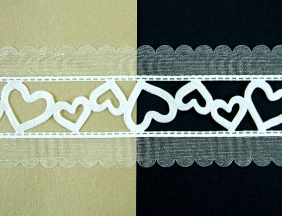 38mm Organza Satin Hearts 20m, Ivory