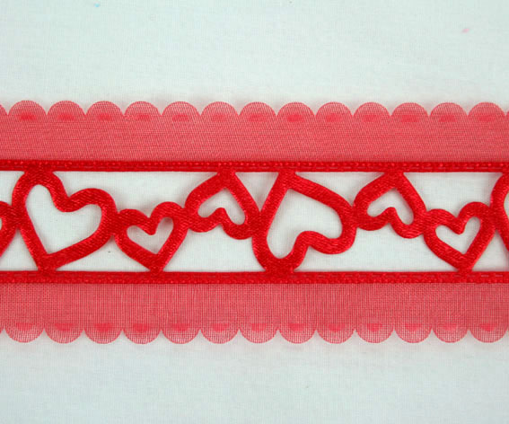 38mm Organza Satin Hearts 20m, Red
