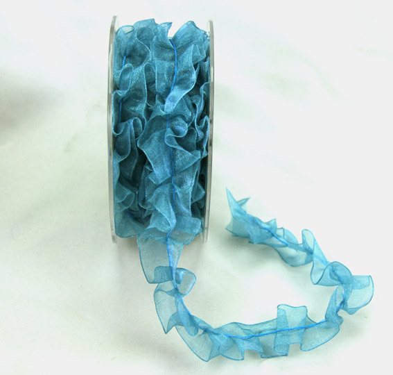 25mm Pleated Organza Teal 5m roll