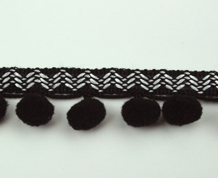 20m Pompom Ribbon 20mm Black