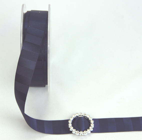 18mm Double Sided Vertical Stripe Satin 20m Roll Midnight Blue