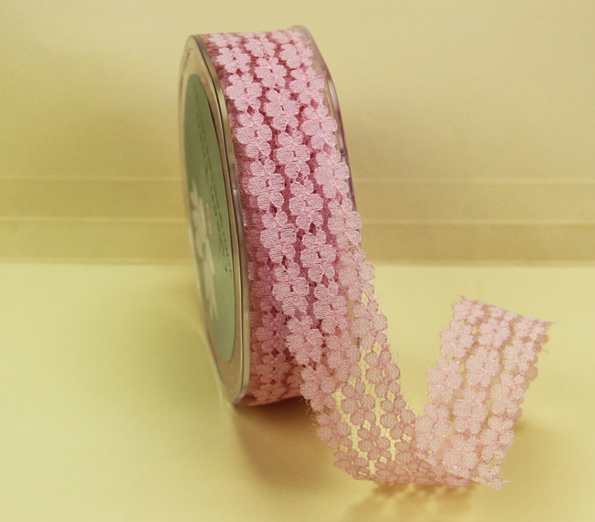 25mm Flower Lace 20m Pink