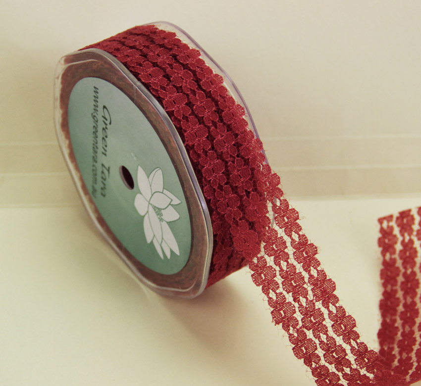 25mm Flower Lace 20m Red