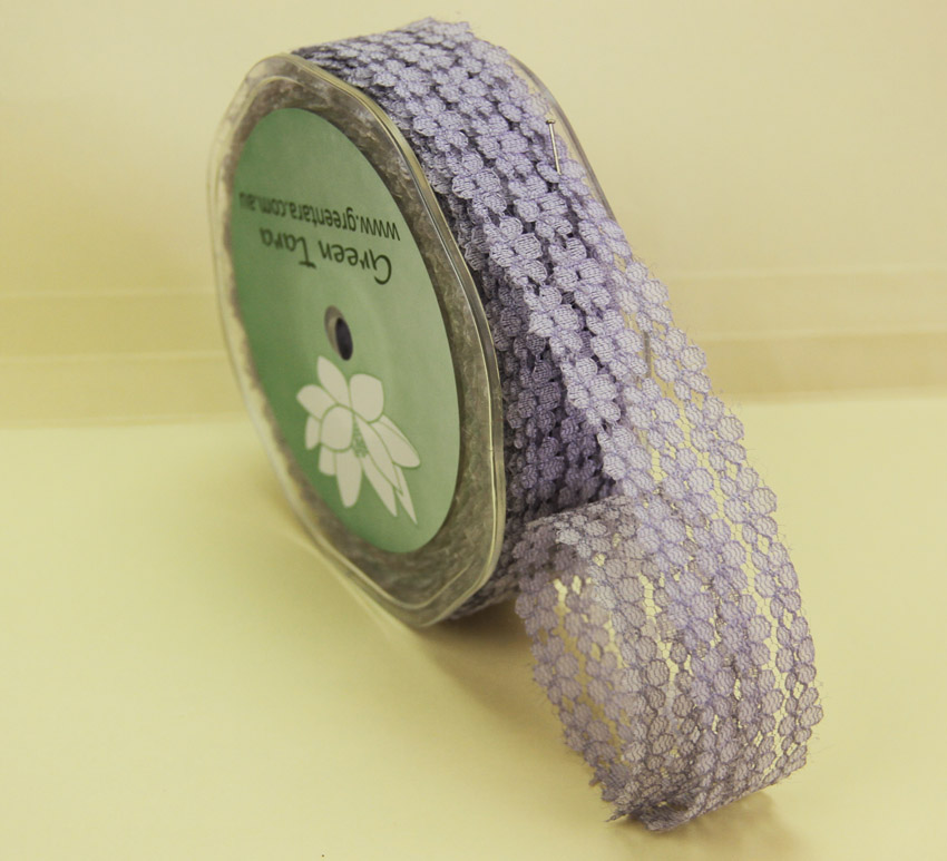25mm Flower Lace 20m Silver Grey