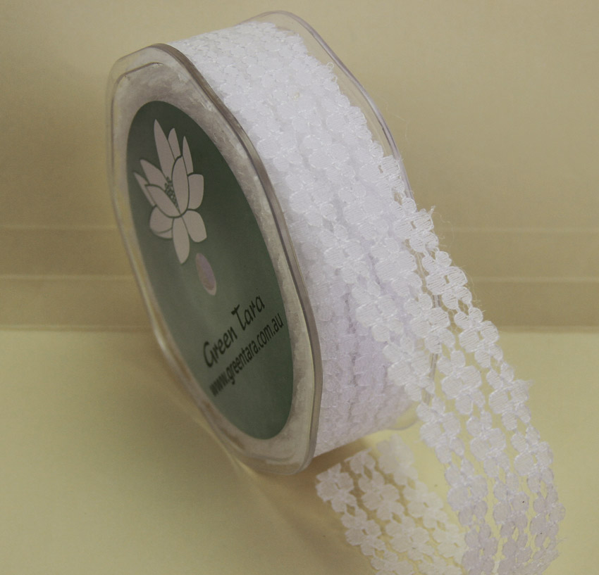 25mm Flower Lace 20m White