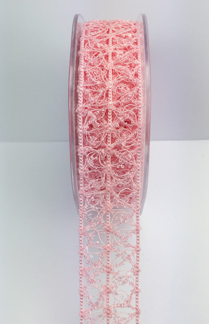 25mm Vintage Open Weave 10m Pale Pink