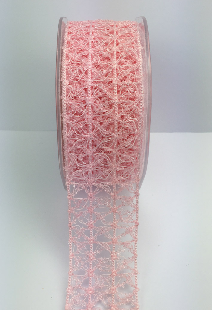 38mm Vintage Open Weave 10m Pale Pink