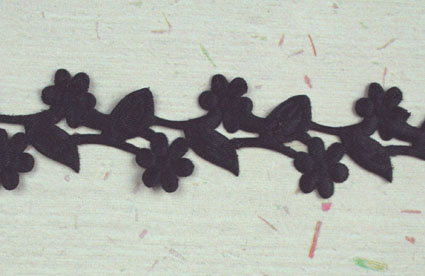 Satin Flower Garland, Black