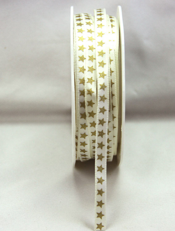 6mm Satin Ribbon with Gold Stars 25m, Ivory