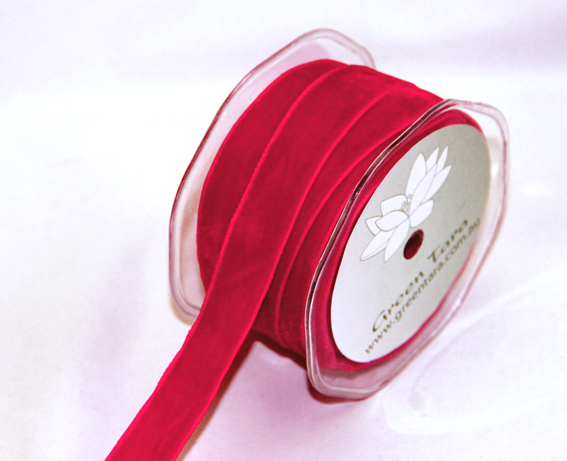 18mm Velvet 10m Roll Red