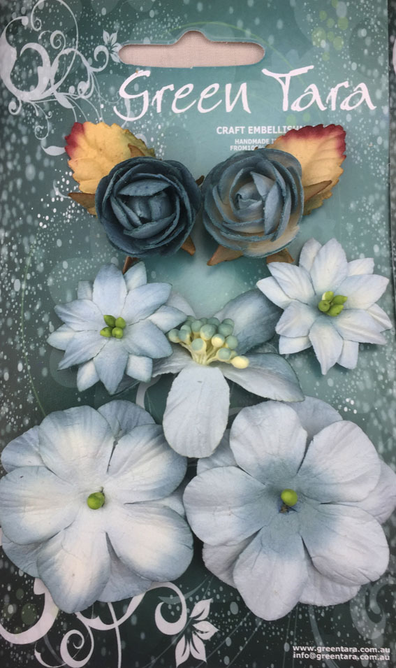 7 Rustic Flowers Sky Blue