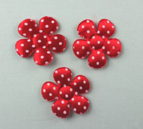 100 Satin Dot Flowers, Red 3.5 cm