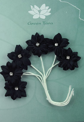 Silk Flowers with Swarovski Crystal Centres. 3cm Black. Pack of 6.