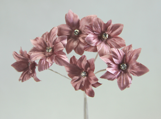 Silk Flowers with Swarovski Crystal Centres. 3cm Dusky Pink. Bulk pack of 60.