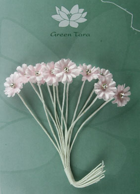 Silk Flowers with Swarovski Crystal Centres. 2cm Pale Pink. Pack of 12.