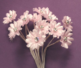 Silk Flowers with Swarovski Crystal Centres. 2cm Pale Pink. Bulk pack of 60.