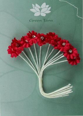 Silk Flowers with Swarovski Crystal Centres. 2cm Red. Pack of 12.