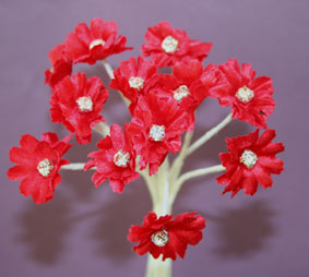 Silk Flowers with Swarovski Crystal Centres. 2cm Red. Bulk pack of 60.