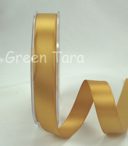 9mm Double Sided Satin Ribbon Antique Gold
