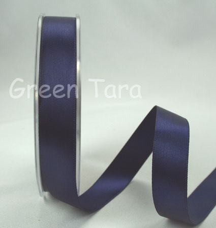 15mm Double Sided Satin Ribbon 25m Midnight Blue