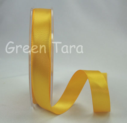 15mm Double Sided Satin Ribbon 25m Yellow