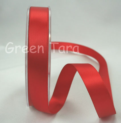 15mm Double Sided Satin Ribbon 25m Red