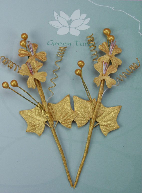 Xmas Bouquet Gold 10cm. Retail Pack of 2