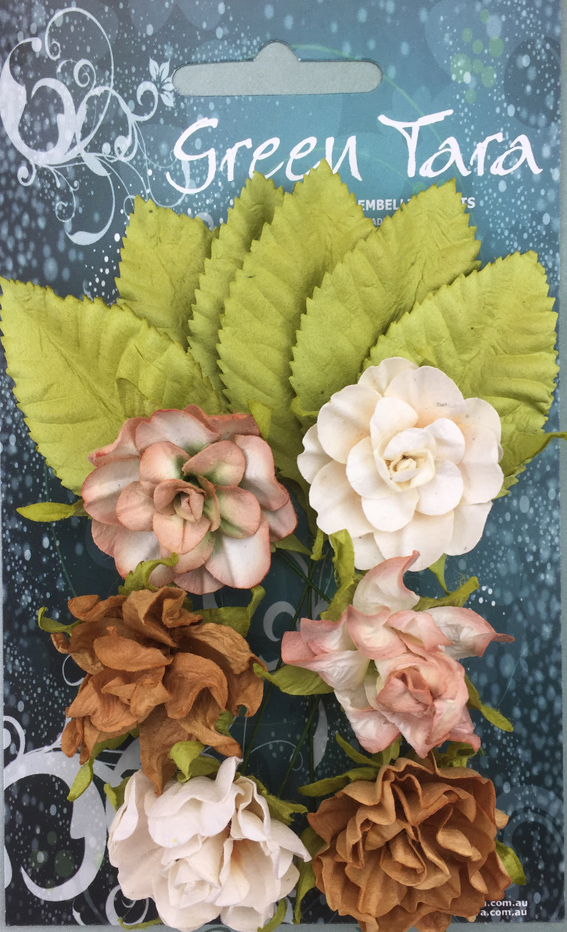 Tea Roses Pack of 6 Co-ordinated Roses 3cm with Leaves Ochre