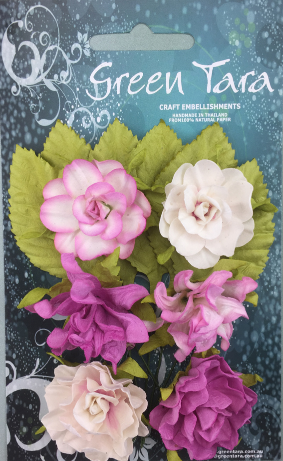 Tea Roses Pack of 6 Co-ordinated Roses 3cm with Leaves Rose