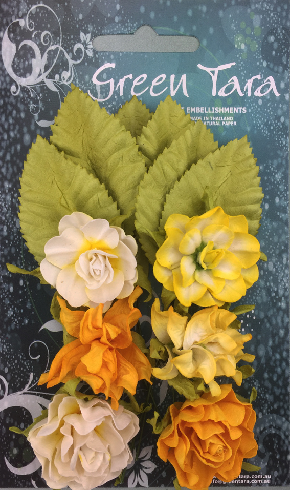Tea Roses Pack of 6 Co-ordinated Roses 3cm with Leaves Yellow