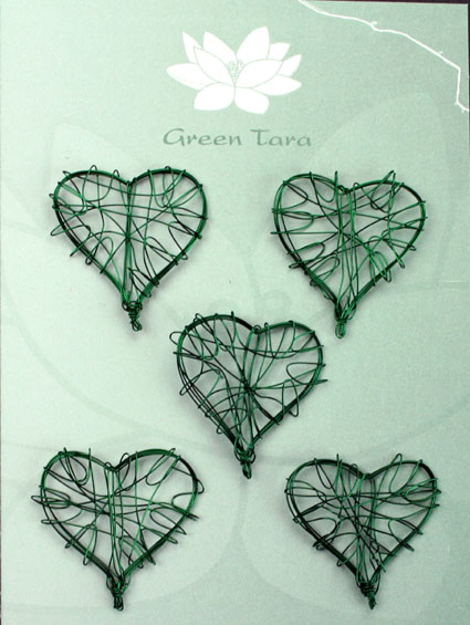 Wire Heart 3cm Emerald Pack of 5
