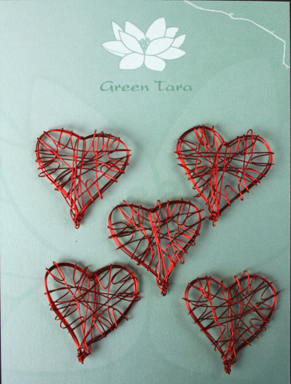 Wire Heart 3cm Red Pack of 5