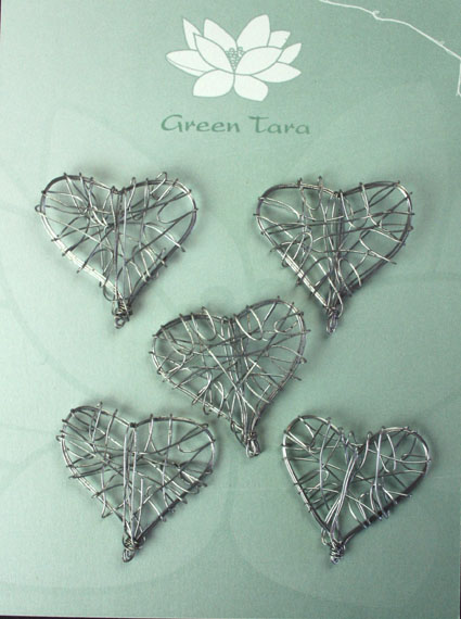 Wire Heart 3cm Silver Pack of 5