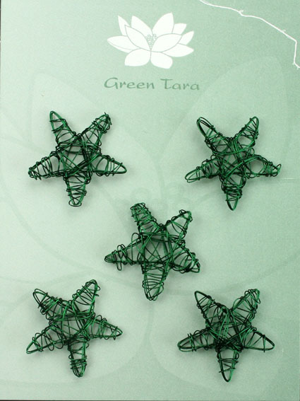 Wire Star 3cm Emerald Pack of 10