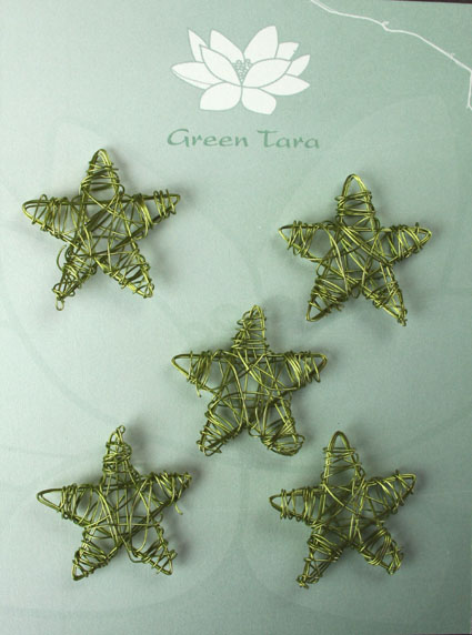 Wire Star 3cm Olive Pack of 10