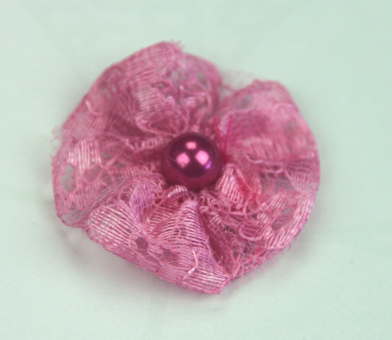 **NEW** Lace Pearl 3.5cm Lace Pearl Flowers 12 pcs Hot Pink