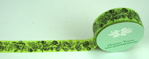 Washi Tape 15mm x 10m roll Vintage Roses, Green