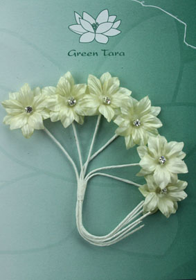 Silk Flowers with Swarovski Crystal Centres. 3cm Ivory. Pack of 6.