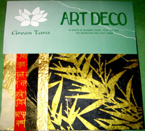 20 A5 Sheets Art Deco Papers Gold Bamboo