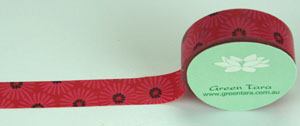 Washi Tape 15mm x 10m roll Red Daisy