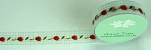 Washi Tape 15mm x 10m roll Red Rosebuds