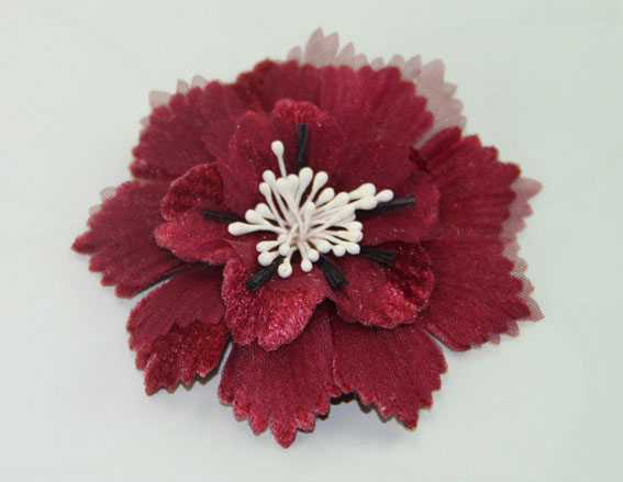 Damask 8cm Fabric and Organza Flower Burgundy 12 pcs